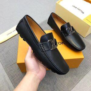 Giày lười nam Louis Vuitton siêu cấp da bóng màu đen GLLV13