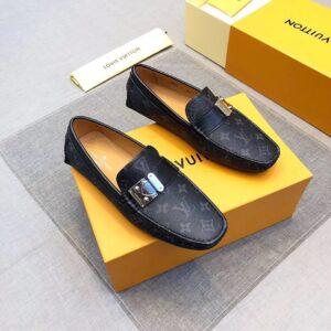 Giày lười nam Louis Vuitton siêu cấp họa tiết khóa màu xám GLLV24