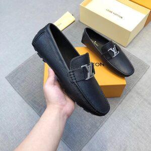 Giày lười nam Louis Vuitton siêu cấp họa tiết logo bạc GLLV18