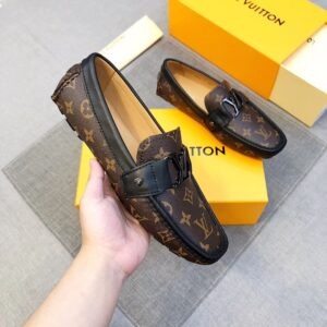 Giày lười nam Louis Vuitton siêu cấp họa tiết sao màu nâu GLLV25