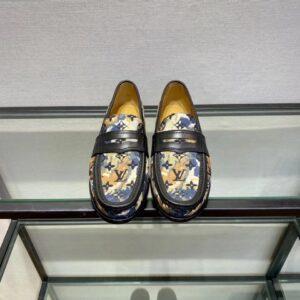Giày lười Louis Vuitton like au đế cao họa tiết hoa vàng GLLV14