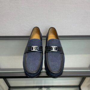 Giày lười Louis Vuitton like au đế cao họa tiết logo màu jeans xanh GLLV01