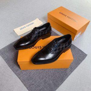 Giày lười Louis Vuitton siêu cấp họa tiết caro dập chìm đế cao GLLV10