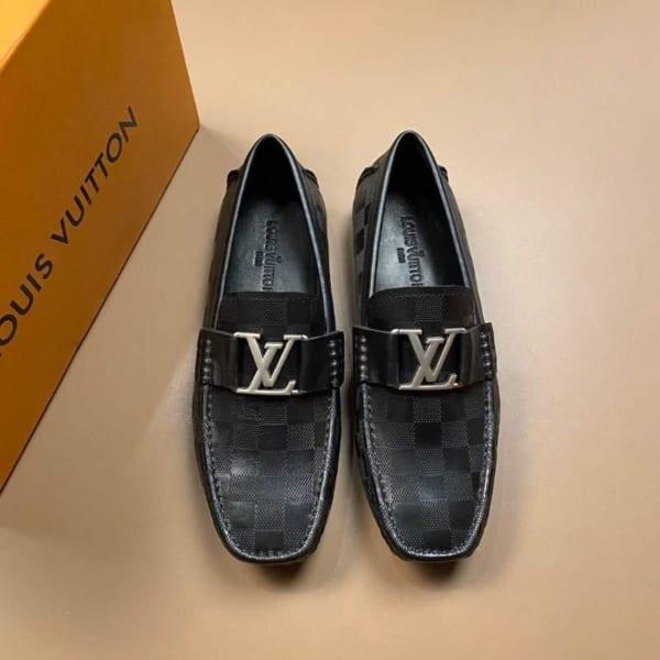 Giày lười Louis Vuitton siêu cấp họa tiết caro dập chim GLLV34