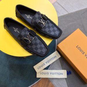 Giày lười Louis Vuitton họa tiết hoa sao màu xanh GLLV38