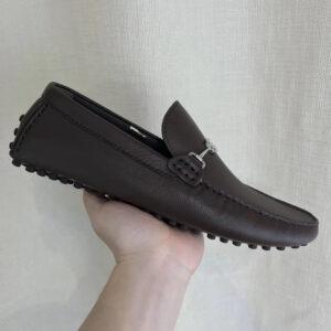 Giày lười Louis Vuitton họa tiết logo ngang màu đen GLLV35