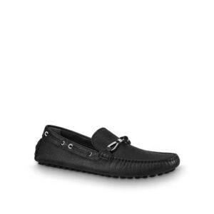 Giày lười Louis Vuitton like au họa tiết nơ màu đen GLLV19