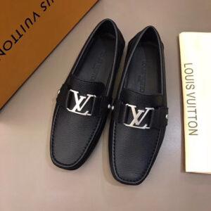 Giày lười Louis Vuitton bản siêu cấp da nhăn màu đen GLLV02