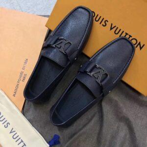 Giày lười nam Louis Vuitton like au mũi vuông da ráp màu xanh GLLV20