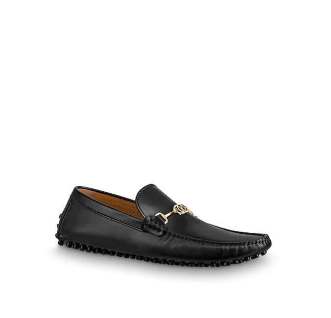 Giày lười nam Louis Vuitton siêu cấp màu vàng khoá nhỏ da trơn GLLV11