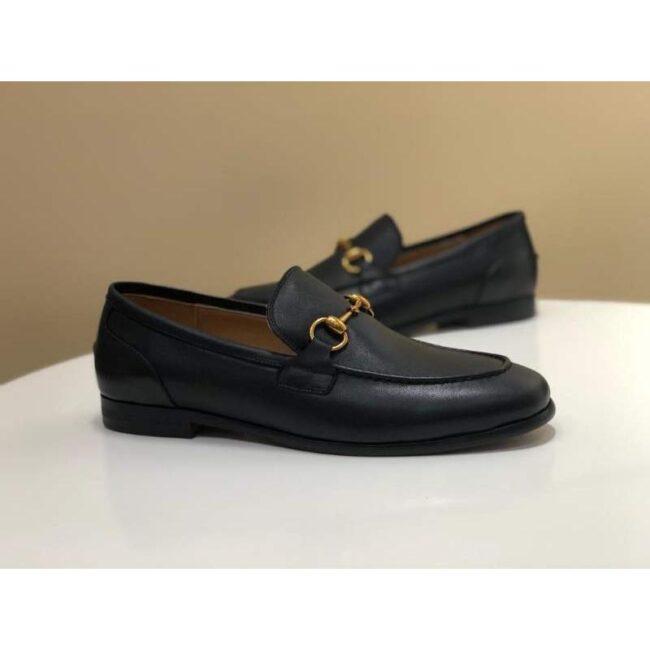 Giày lười Gucci siêu cấp da đen trơn lót vàng