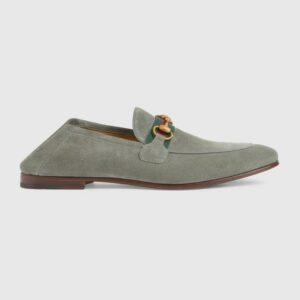 Giày lười Gucci like au đế cao da lộn họa tiết logo viền kẻ đỏ GLGC12