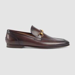 Giày lười Gucci like au đế cao họa tiết da trơn màu nâu GLGC13