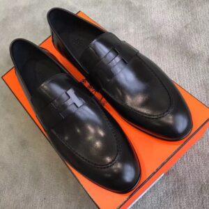 Giày lười Hermes siêu cấp da bóng đen họa tiết khóa chữ H màu đen GLHM08