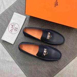 Giày lười Hermes siêu cấp da trơn họa tiết khóa móc tròn màu đen GLHM14