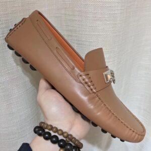Giày lười Hermes siêu cấp họa tiết khóa móc tròn màu nâu sữa GLHM13