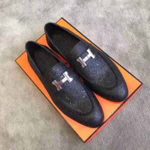 Giày lười Hermes siêu cấp kim tuyến họa tiết khóa chữ H màu đen GLHM07