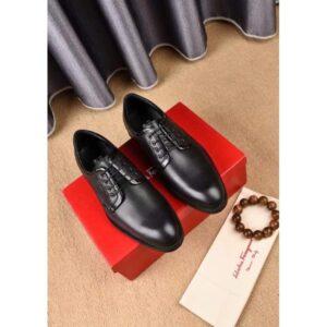 Giày Salvatore Ferragamo siêu cấp nam cột dây màu đen GNSF11