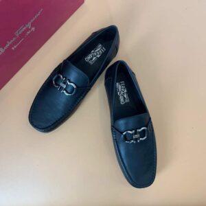 Giày Salvatore Ferragamo siêu cấp nam da trơn màu đen GNSF06