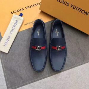 Giày Lười Louis Vuitton Like Auth da nhám màu xanh tag đỏ GLLV44
