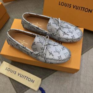Giày Lười Louis Vuitton Like Auth màu trắng họa tiết hoa cột nơ GLLV59