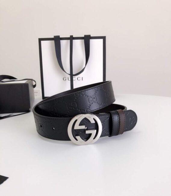 Thắt lưng nam Gucci siêu cấp màu đen họa tiết logo mặt khóa hình thoi TLGC11