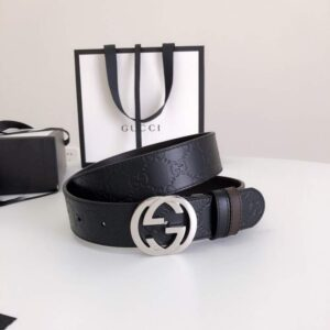 Thắt lưng nam Gucci siêu cấp da họa tiết logo mặt khóa tròn TLGC10