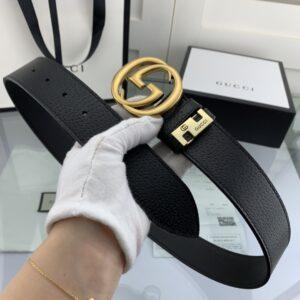 Thắt lưng nam Gucci siêu cấp màu đen da sần mặt khóa tròn TLGC13