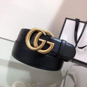 Thắt lưng nam Gucci siêu cấp màu đen họa tiết logo mặt chữ TLGC08