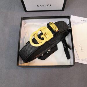 Thắt lưng nam Gucci siêu cấp khóa chữ G kép màu vàng TLGC01