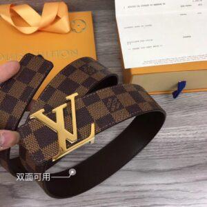 Thăt lưng nam Louis Vuitton siêu cấp họa tiết caro nâu mặt khóa chữ TLLV04