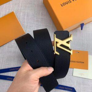Thắt lưng nam Louis Vuitton siêu cấp màu đen mặt chữ màu vàng TLLV10