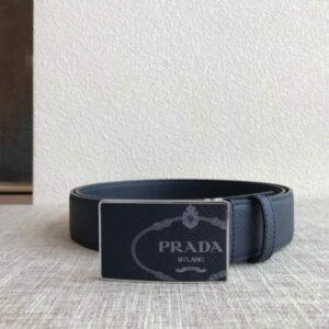 Thắt lưng nam Prada siêu cấp màu đen da sần mặt khóa logo trắng TLP03