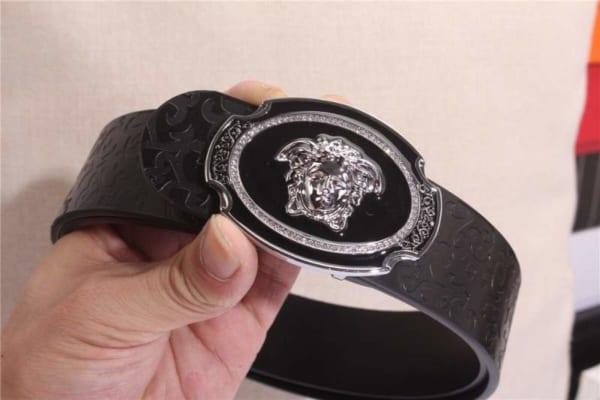 Thắt lưng nam Versace siêu cấp da vân logo mặt khóa hình thoi TLVS07