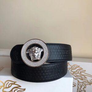 Thắt lưng nam Versace siêu cấp vân da rắn mặt khóa tròn đính hạt TLVS16