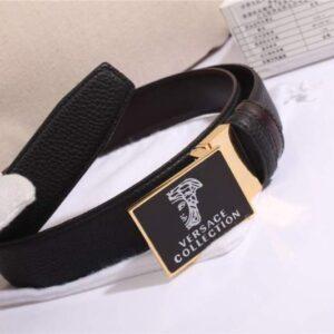 Thắt lưng nam Versace siêu cấp màu đen mặt khóa vuông đen TLVS04