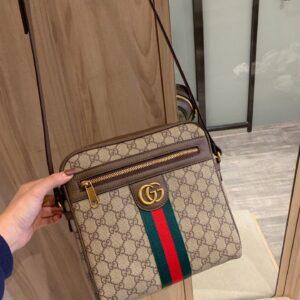 Túi đeo chéo nam Gucci siêu cấp màu nâu tag xanh đỏ TNGC23