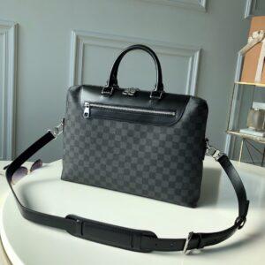 Túi xách nam Louis Vuitton siêu cấp màu đen họa tiết caro khóa sau TXLV11
