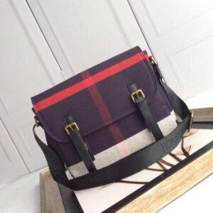 Túi xách đeo chéo Burberry siêu cấp nam màu tím họa tiết kẻ đỏ TNBB04