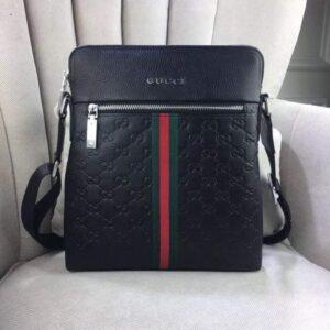 Túi xách đeo chéo Gucci siêu cấp nam màu đen tag xanh đỏ TNGC02