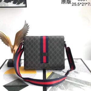 Túi xách đeo chéo Gucci siêu cấp nam màu xám nắp gập tang đen đỏ TNGC05