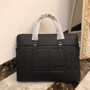 Túi xách nam Burberry siêu cấp màu đen họa tiết ô vuông to TXBB06