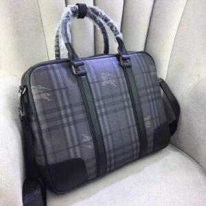 Túi xách nam Burberry siêu cấp màu xám họa tiết kẻ TXBB02