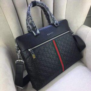 Túi xách nam Gucci siêu cấp màu đen tag xanh đỏ khóa trước TXGC02