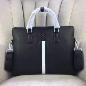 Túi xách nam Prada siêu cấp màu đen tag trắng TXPR01