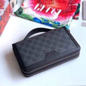 Ví nam Gucci siêu cấp họa tiết logo màu xanh xám VNGC18
