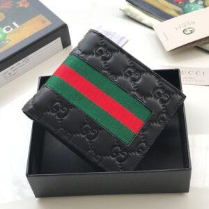 Ví nam Gucci siêu cấp họa tiết logo tag xanh đỏ VNGC22