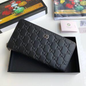 Ví nam Gucci siêu cấp màu đen dập logo bản dài VNGC32