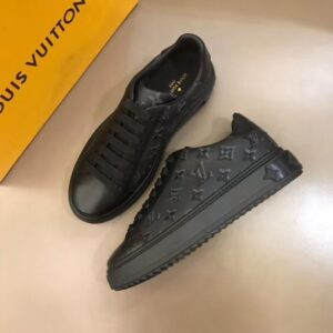 Giày Louis Vuitton siêu cấp nam màu đen họa tiết hoa GNLV05