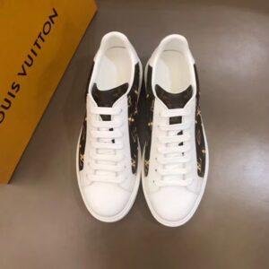 Giày Louis Vuitton siêu cấp nam màu trắng họa tiết hoa vàng GNLV04